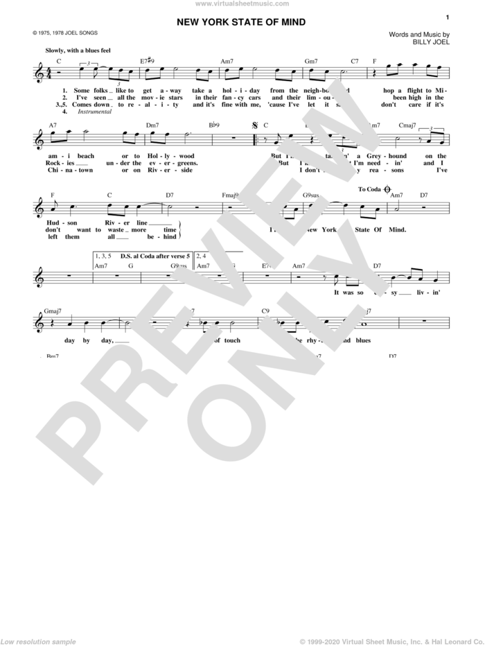New York State Of Mind sheet music for voice and other instruments (fake book) by Billy Joel, intermediate skill level