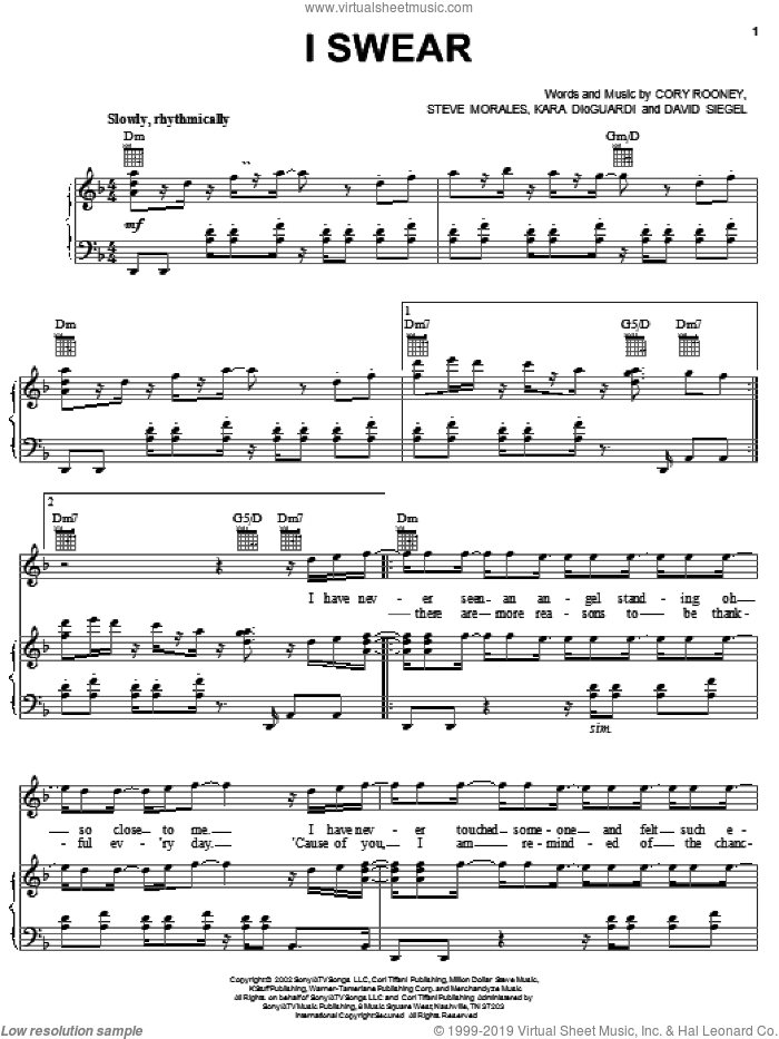 I Swear sheet music for voice, piano or guitar by Marc Anthony, Cory Rooney, Kara DioGuardi and Steve Morales, intermediate skill level