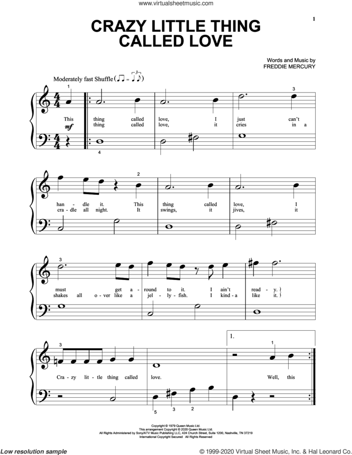 Crazy Little Thing Called Love sheet music for piano solo (big note book) by Queen and Freddie Mercury, easy piano (big note book)