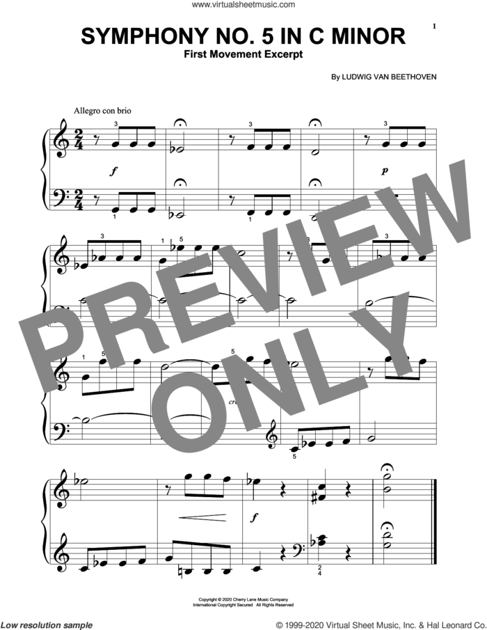 Symphony No. 5 In C Minor, First Movement Excerpt sheet music for piano solo (big note book) by Ludwig van Beethoven, classical score, easy piano (big note book)
