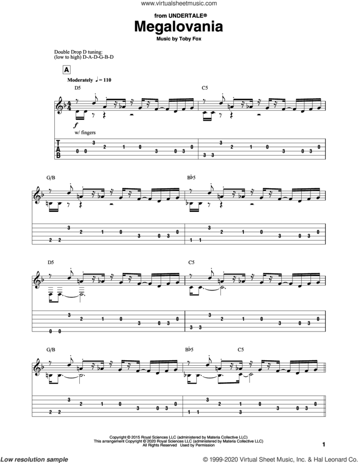 Megalovania (from Undertale) sheet music for guitar solo by Toby Fox, intermediate skill level