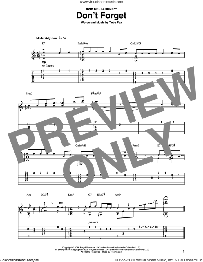 Don't Forget (from Deltarune) sheet music for guitar solo by Toby Fox, intermediate skill level
