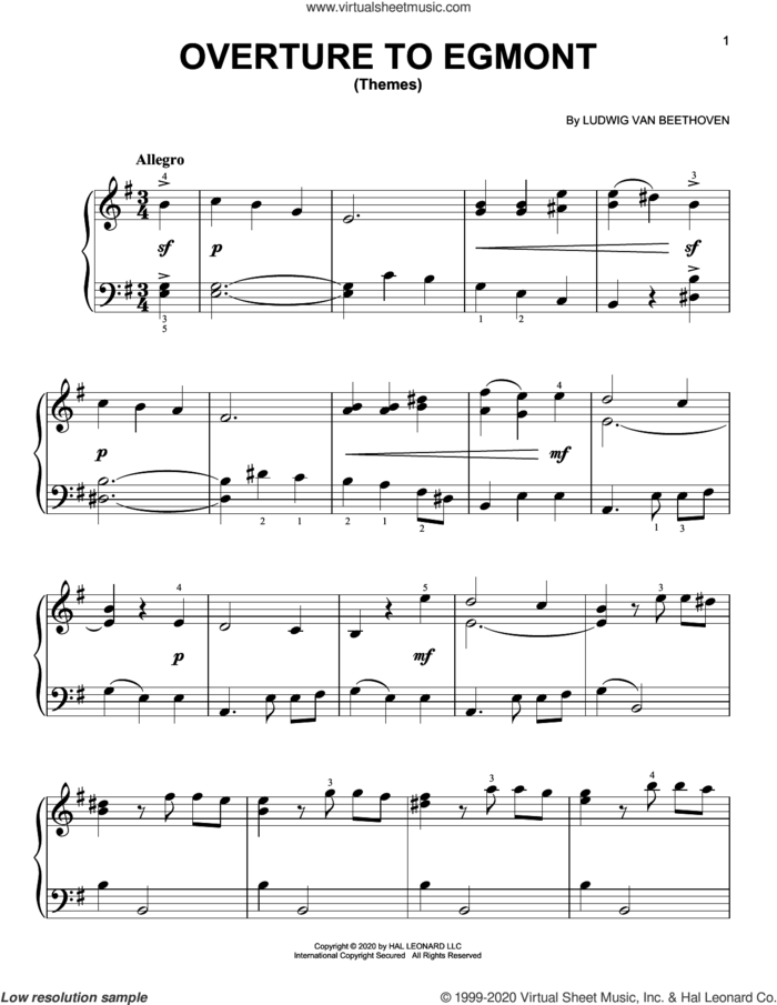 Overture To Egmont (Themes) sheet music for piano solo by Ludwig van Beethoven, classical score, easy skill level