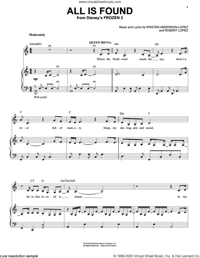 All Is Found (from Disney's Frozen 2) sheet music for voice and piano by Evan Rachel Wood, Kristen Anderson-Lopez and Robert Lopez, intermediate skill level