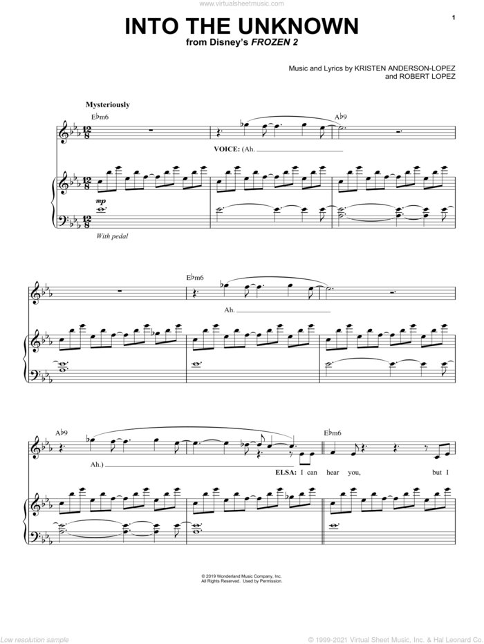 Into The Unknown (from Disney's Frozen 2) sheet music for voice and piano by Idina Menzel and AURORA, Kristen Anderson-Lopez and Robert Lopez, intermediate skill level