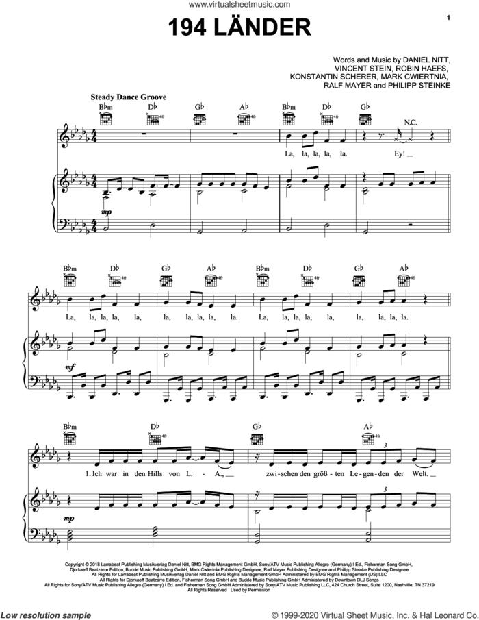 194 Lander sheet music for voice, piano or guitar by Mark Forster, Daniel Nitt, Konstantin Scherer, Mark Cwiertnia, Philipp Steinke, Ralf Mayer, Robin Haefs and Vincent Stein, intermediate skill level