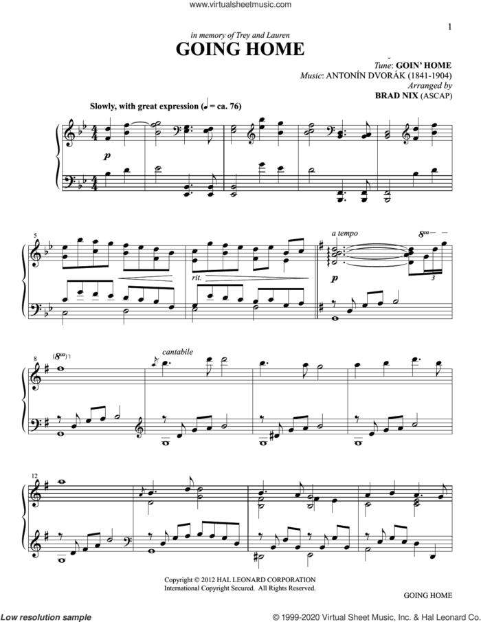 Going Home (arr. Brad Nix) sheet music for piano solo by Antonin Dvorak and Brad Nix, intermediate skill level