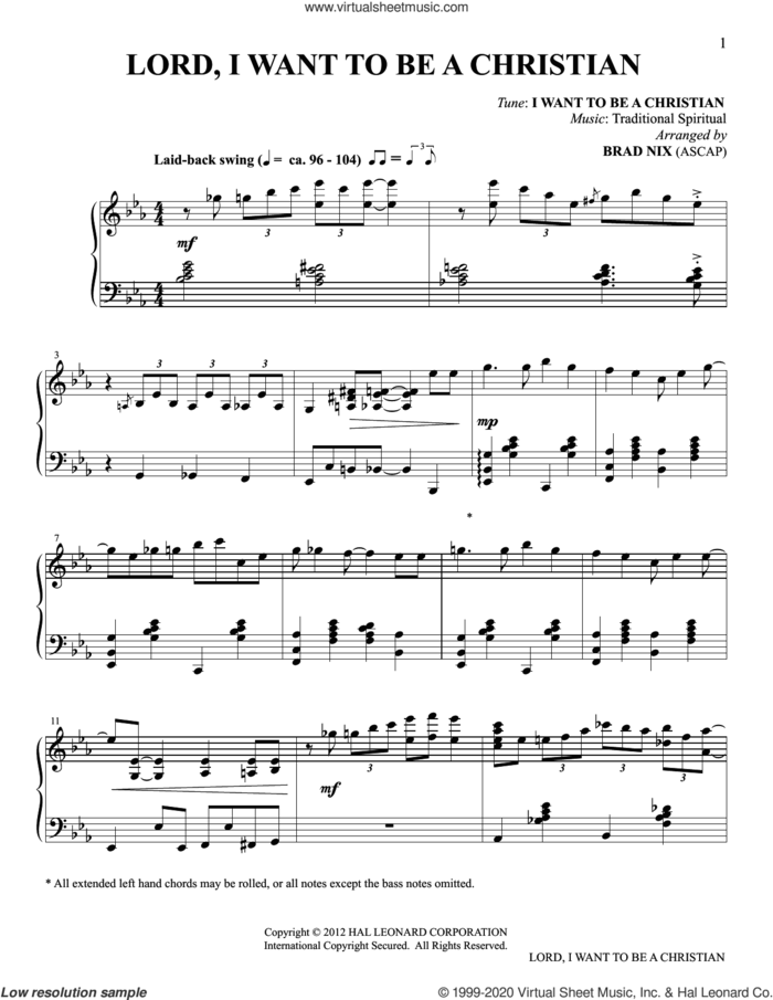 Lord, I Want To Be A Christian (arr. Brad Nix) sheet music for piano solo  and Brad Nix, intermediate skill level