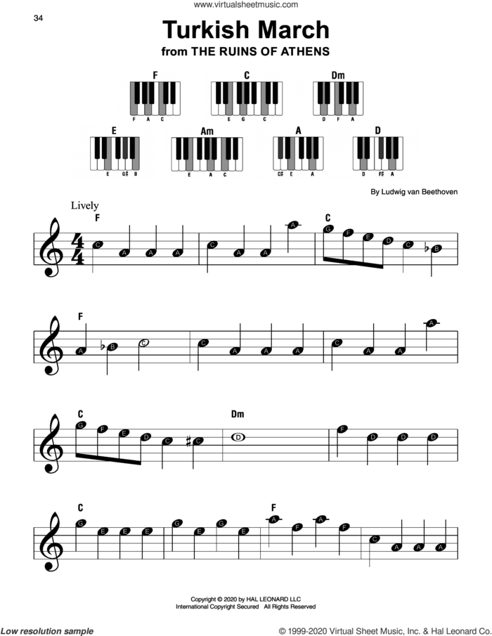 Turkish March, (beginner) sheet music for piano solo by Ludwig van Beethoven, classical score, beginner skill level