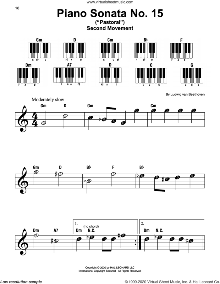 Piano Sonata No. 15 In D Major, Op. 28 ('Pastorale') sheet music for piano solo by Ludwig van Beethoven, classical score, beginner skill level