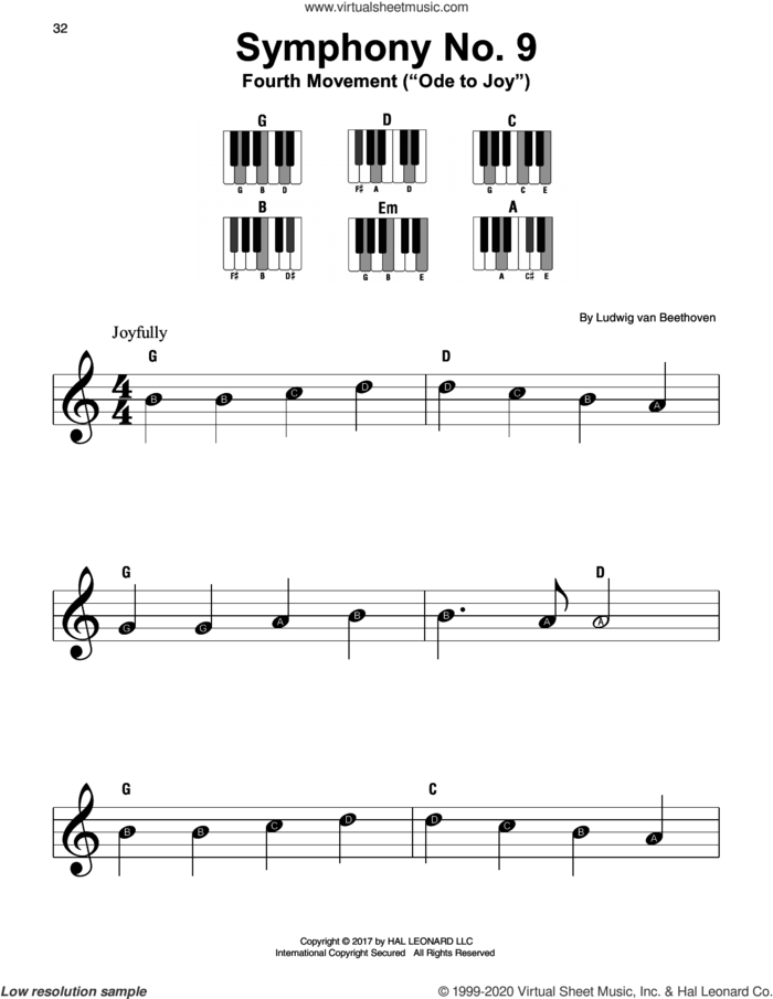 Symphony No. 9, Fourth Movement sheet music for piano solo by Ludwig van Beethoven, classical score, beginner skill level