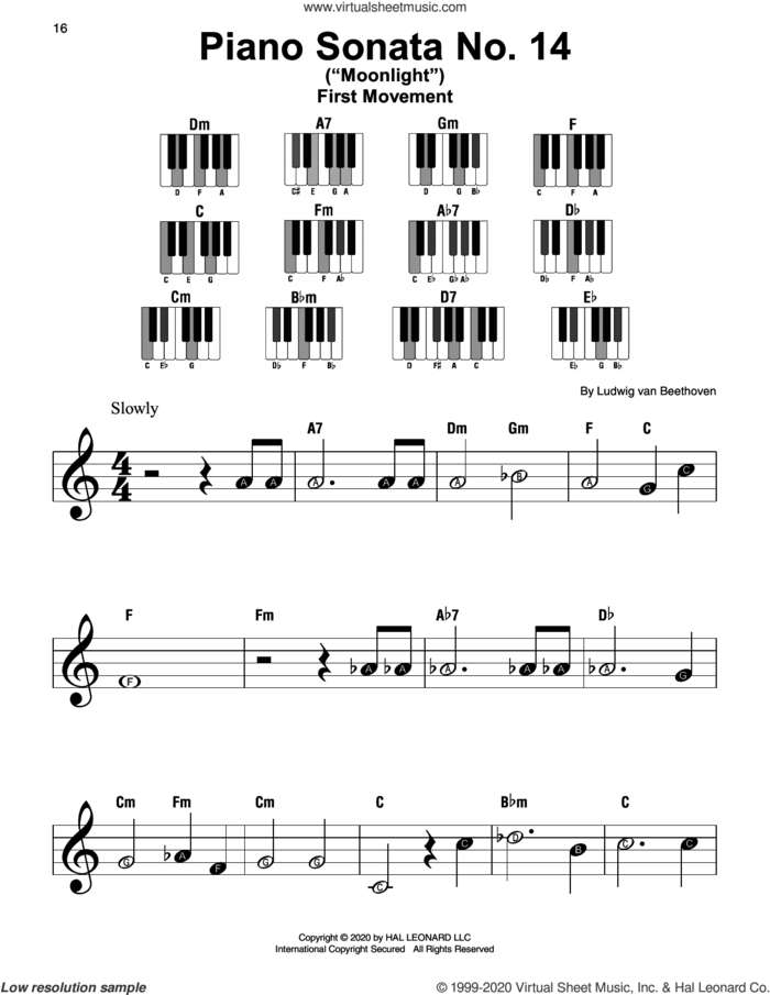 Piano Sonata No. 14 In C# Minor ('Moonlight') Op. 27, No. 2, First Movement Theme sheet music for piano solo by Ludwig van Beethoven, classical score, beginner skill level