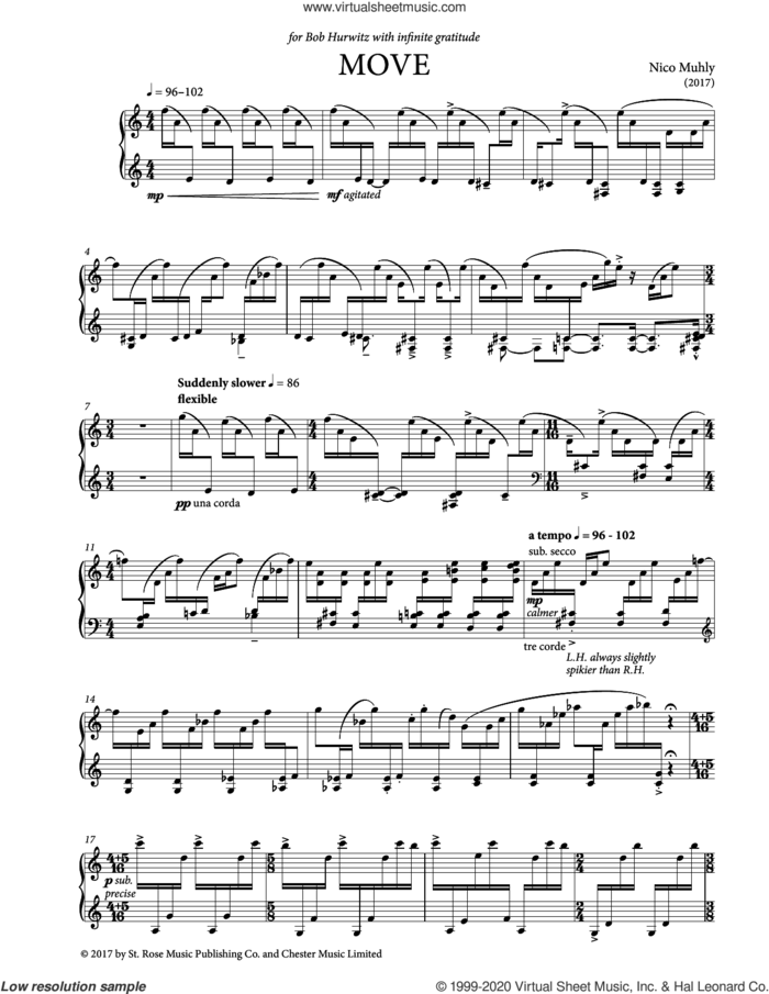 Move sheet music for piano solo by Nico Muhly, classical score, intermediate skill level