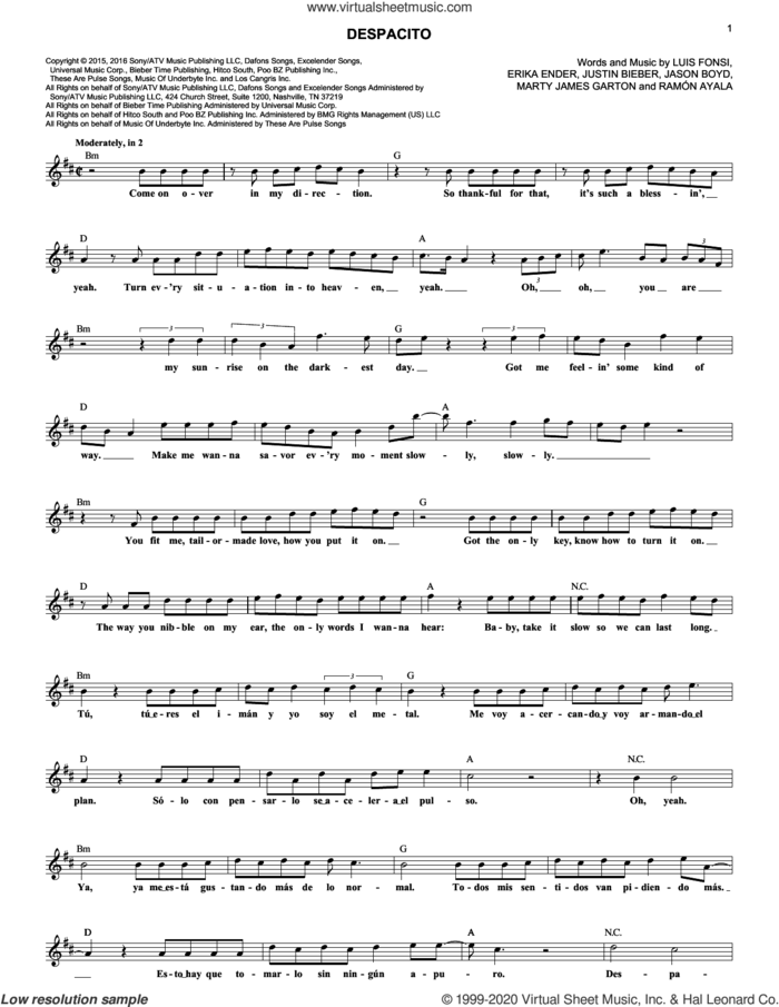 Despacito sheet music for voice and other instruments (fake book) by Luis Fonsi & Daddy Yankee feat. Justin Bieber, Erika Ender, Luis Fonsi and Ramon Ayala, intermediate skill level