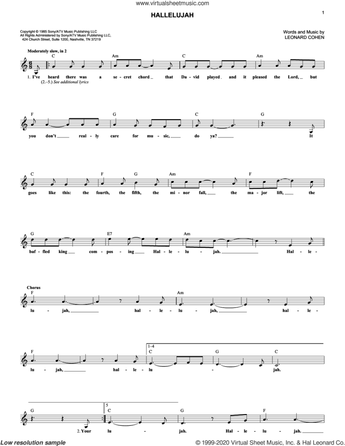 Hallelujah sheet music for voice and other instruments (fake book) by Leonard Cohen, intermediate skill level