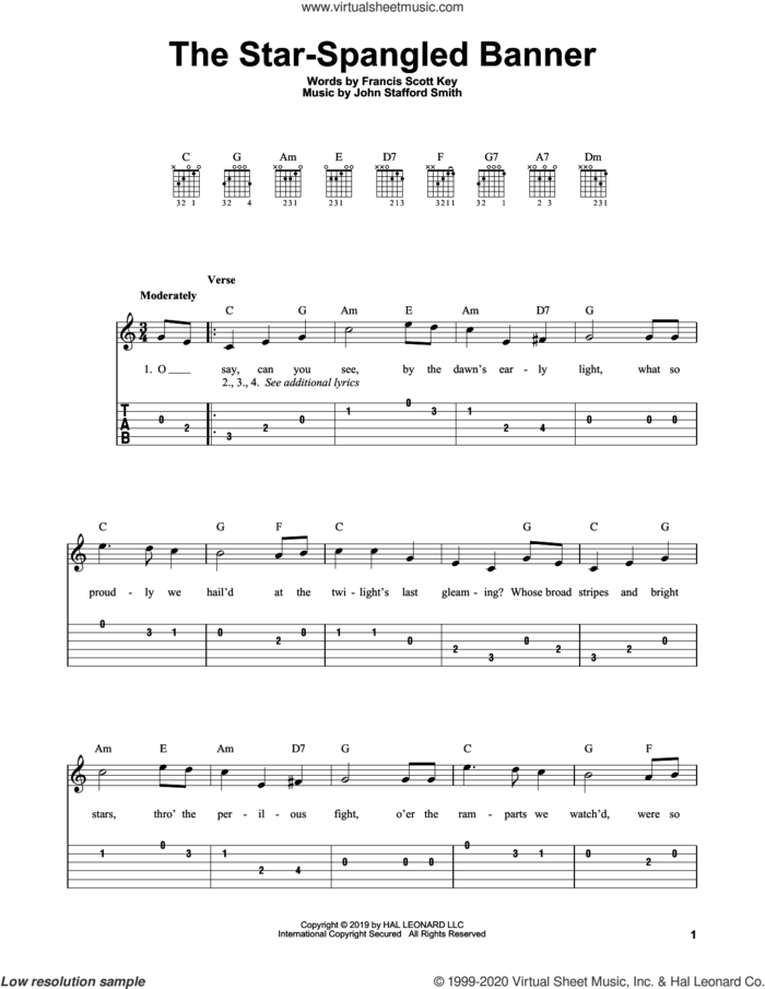 The Star-Spangled Banner sheet music for guitar solo (easy tablature) by John Stafford Smith and Francis Scott Key, easy guitar (easy tablature)
