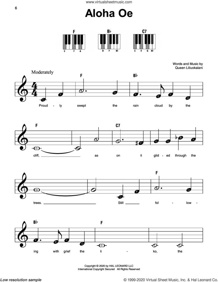 Aloha Oe sheet music for piano solo by Queen Liliuokalani, beginner skill level