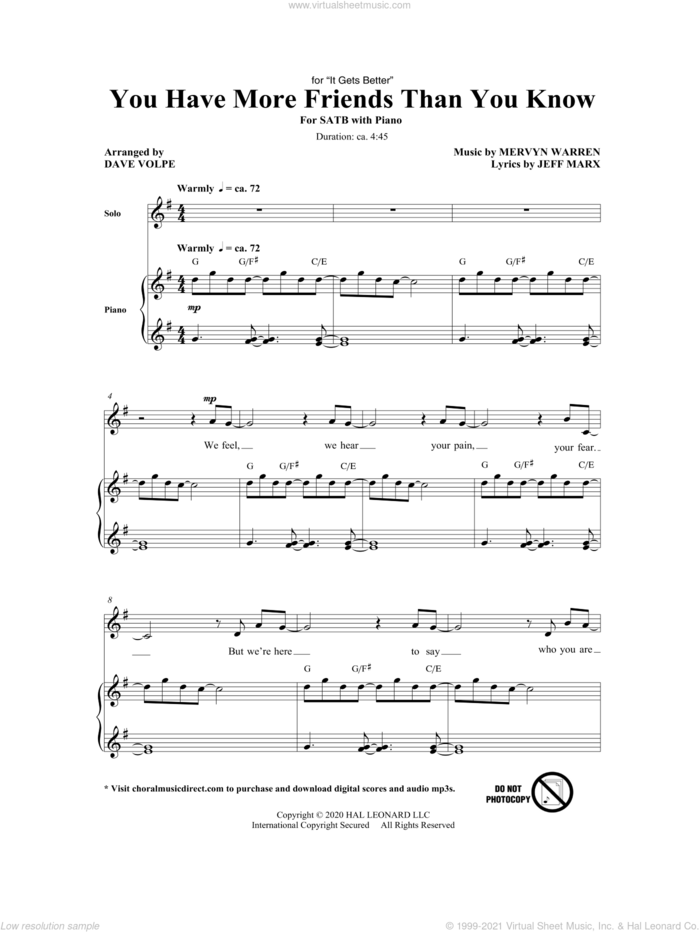You Have More Friends Than You Know (arr. Dave Volpe) sheet music for choir (SATB: soprano, alto, tenor, bass) by Mervyn Warren, Dave Volpe, Jeff Marx and Jeff Marx and Mervyn Warren, intermediate skill level