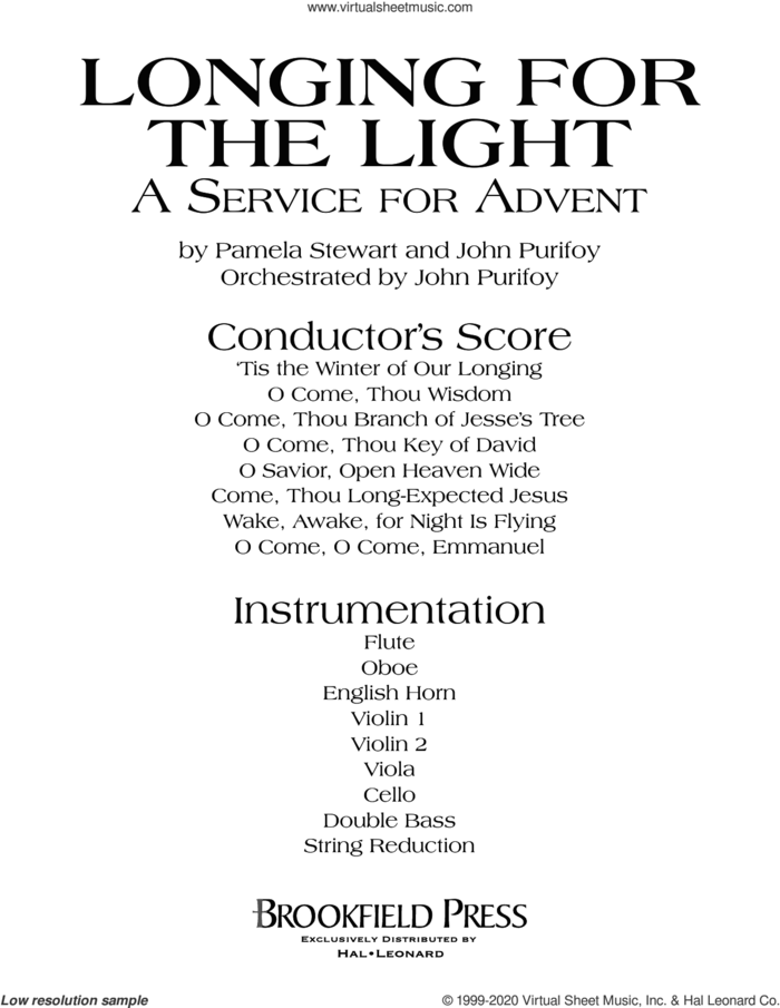 Longing For The Light (A Service For Advent) (COMPLETE) sheet music for orchestra/band by John Purifoy, Pamela Stewart and Pamela Stewart and John Purifoy, intermediate skill level