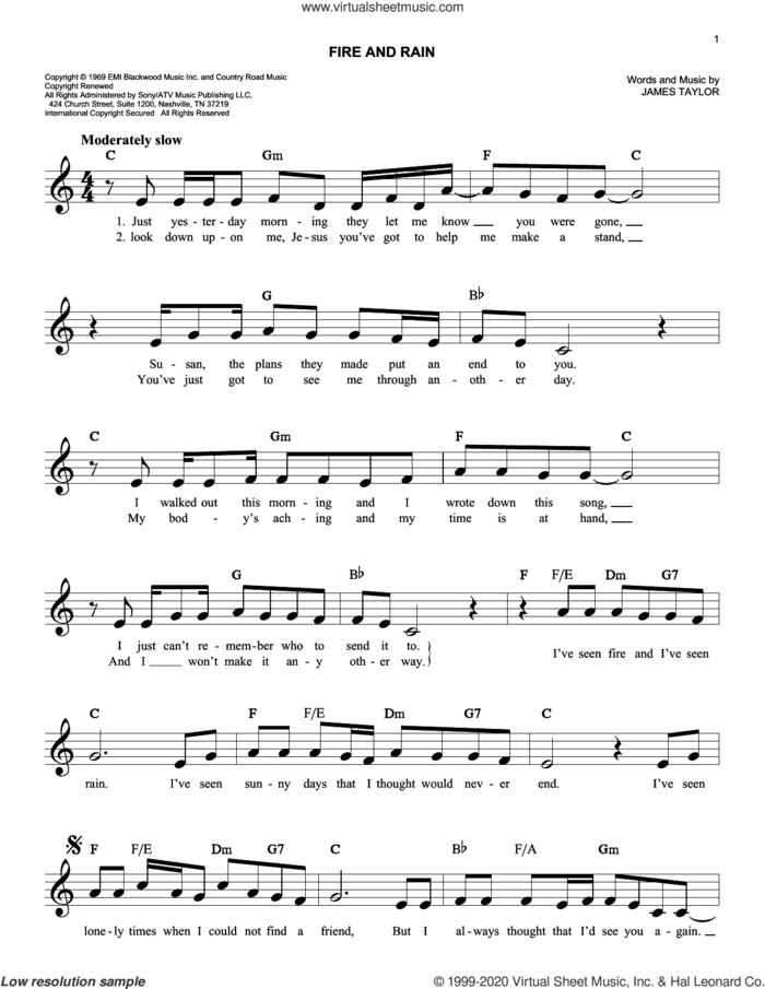 Fire And Rain sheet music for voice and other instruments (fake book) by James Taylor, intermediate skill level