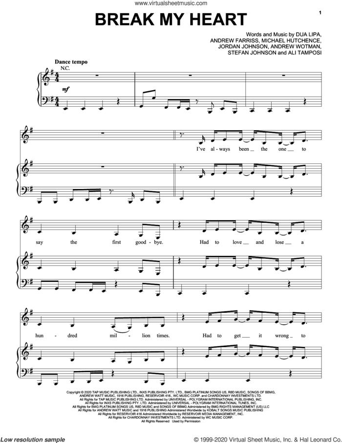 Break My Heart sheet music for voice, piano or guitar by Dua Lipa, Ali Tamposi, Andrew Farris, Andrew Wotman, Jordan Johnson, Michael Hutchence and Stefan Johnson, intermediate skill level