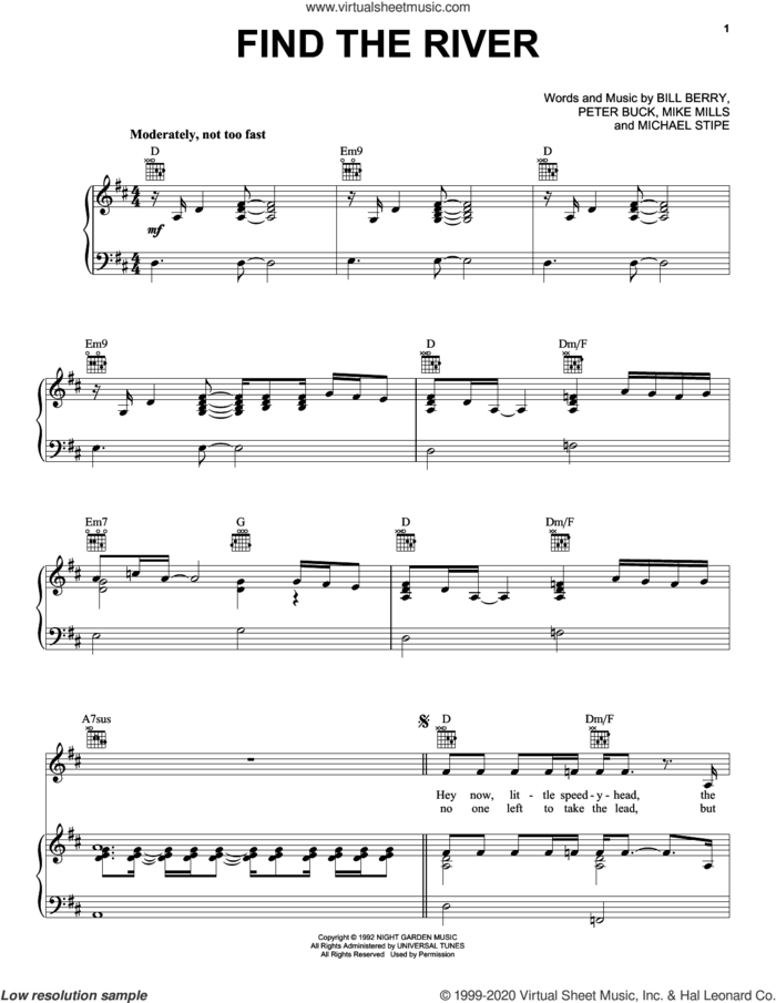 Find The River sheet music for voice, piano or guitar by R.E.M., Bill Berry, Michael Stipe, Mike Mills and Peter Buck, intermediate skill level