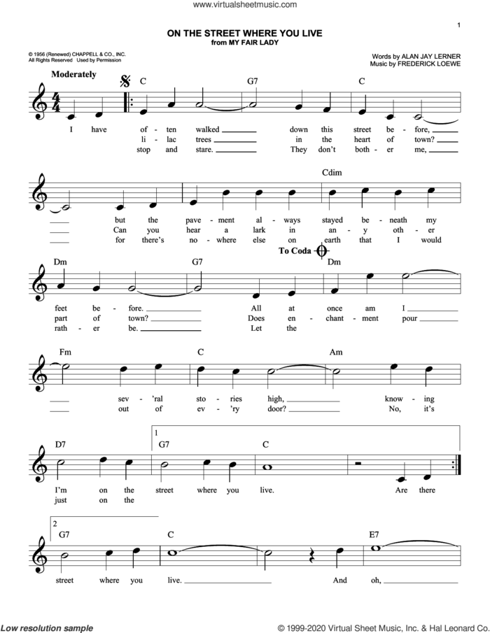 On The Street Where You Live (from My Fair Lady) sheet music for voice and other instruments (fake book) by Alan Jay Lerner, Frederick Loewe and Lerner & Loewe, intermediate skill level
