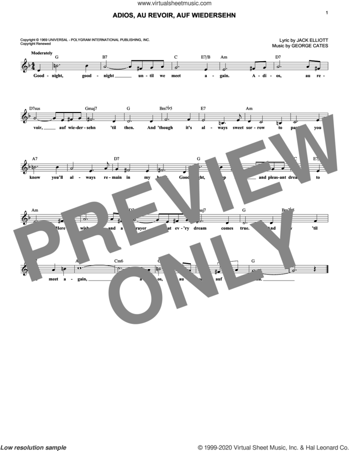 Adios, Au Revoir, Auf Wiedersehn sheet music for voice and other instruments (fake book) by Lawrence Welk, George Cates and Jack Elliott, intermediate skill level