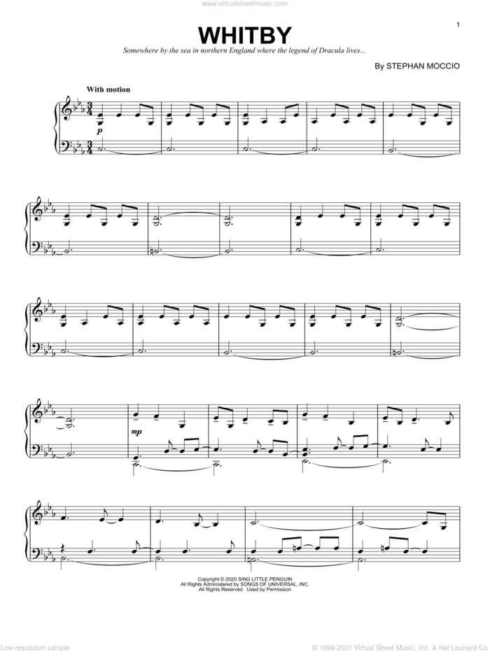 Whitby sheet music for piano solo by Stephan Moccio, classical score, intermediate skill level