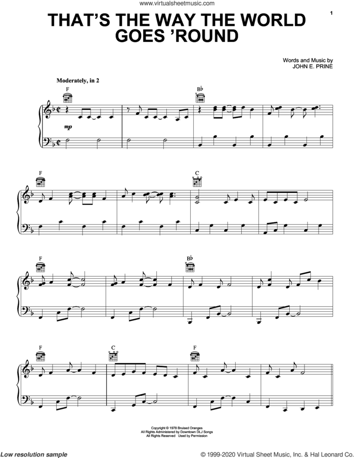 That's The Way The World Goes 'Round sheet music for voice, piano or guitar by John Prine and John E. Prine, intermediate skill level