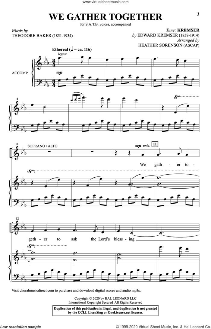 We Gather Together (arr. Heather Sorenson) sheet music for choir (SATB: soprano, alto, tenor, bass) by Theodore Baker, Heather Sorenson and Tune Name: Kremser, intermediate skill level