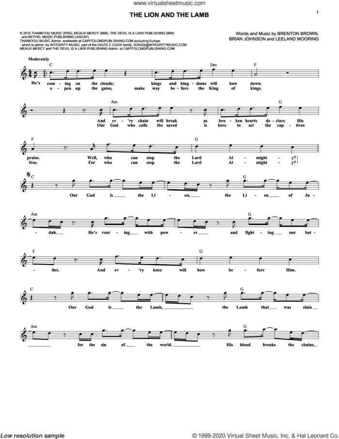 The Lion And The Lamb sheet music for voice and other instruments (fake book) by Big Daddy Weave, Brenton Brown, Brian Johnson and Leeland Mooring, intermediate skill level