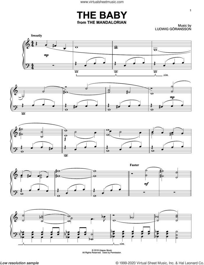 The Baby (from Star Wars: The Mandalorian) sheet music for piano solo by Ludwig Göransson and Ludwig Goransson, intermediate skill level