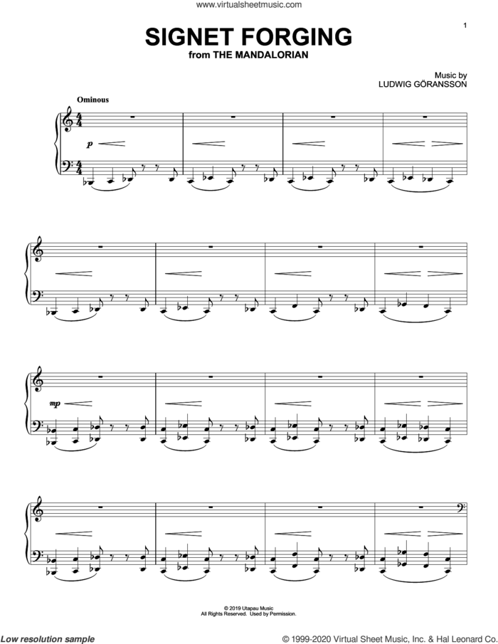 Signet Forging (from Star Wars: The Mandalorian) sheet music for piano solo by Ludwig Göransson and Ludwig Goransson, intermediate skill level