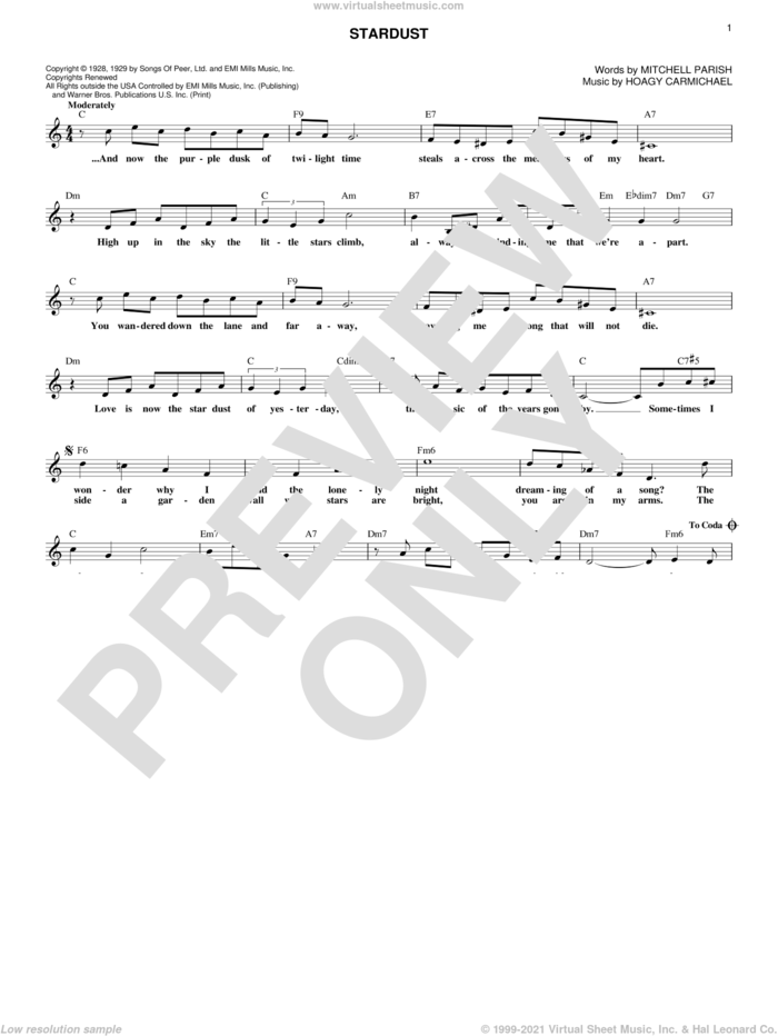 Stardust sheet music for voice and other instruments (fake book) by Hoagy Carmichael and Mitchell Parish, intermediate skill level