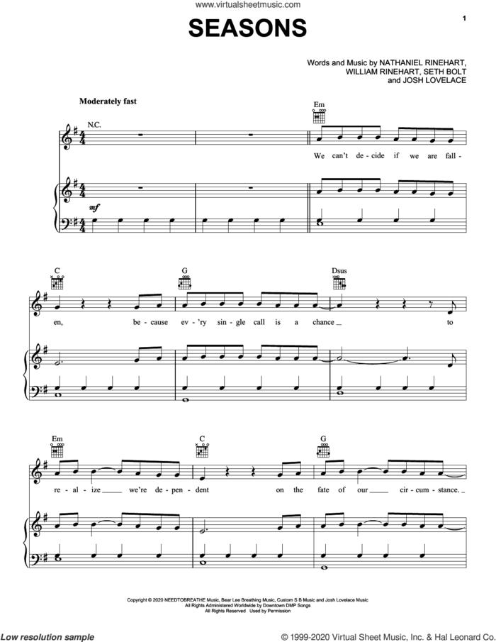 Seasons sheet music for voice, piano or guitar by NEEDTOBREATHE, Josh Lovelace, Nathaniel Rinehart, Seth Bolt and William Rinehart, intermediate skill level
