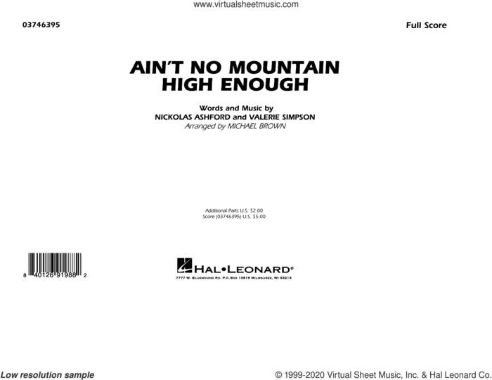 Ain't No Mountain High Enough (arr. Michael Brown) (COMPLETE) sheet music for marching band by Michael Brown, Marvin Gaye, Marvin Gaye & Tammi Terrell, Nickolas Ashford, Tammi Terrell and Valerie Simpson, intermediate skill level