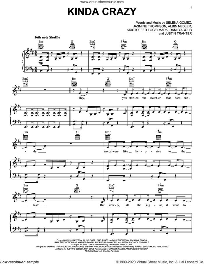 Kinda Crazy sheet music for voice, piano or guitar by Selena Gomez, Albin Nedler, Jasmine Thompson, Justin Tranter, Kristoffer Fogelmark and Rami, intermediate skill level