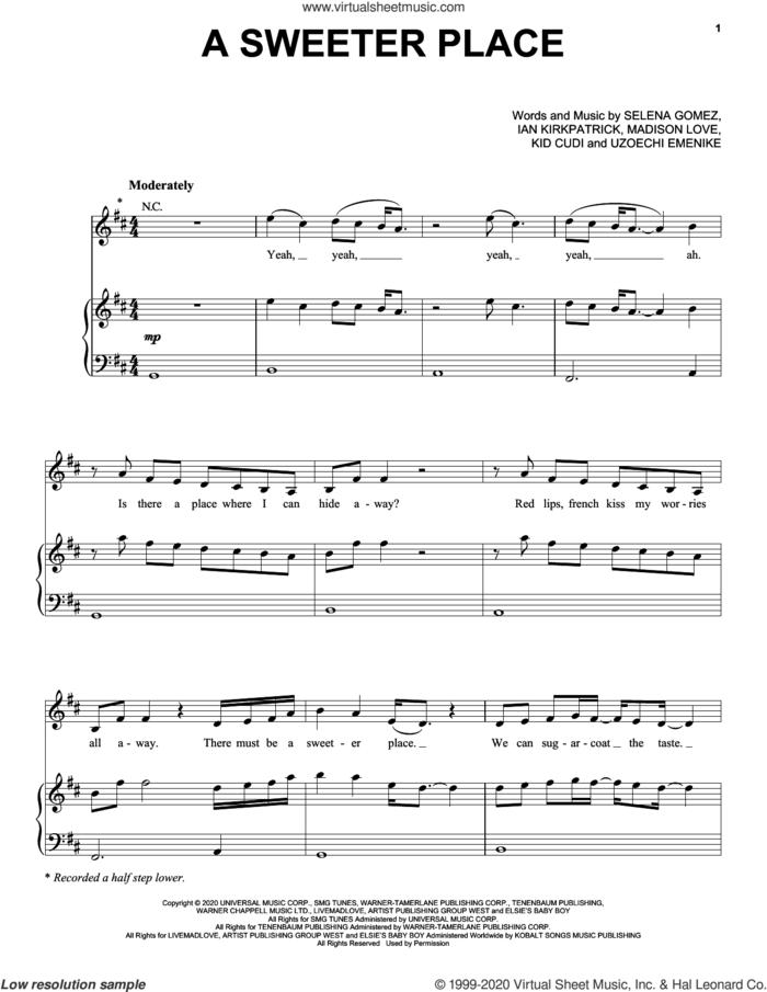 A Sweeter Place (feat. Kid Cudi) sheet music for voice, piano or guitar by Selena Gomez, Ian Kirkpatrick, Kid Cudi, Madison Love and Uzoechi Emenike, intermediate skill level