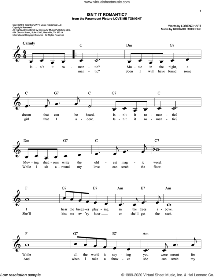 Isn't It Romantic? (arr. Scott Houston) sheet music for voice and other instruments (fake book) by Richard Rodgers, Scott Houston, Lorenz Hart and Rodgers & Hart, intermediate skill level