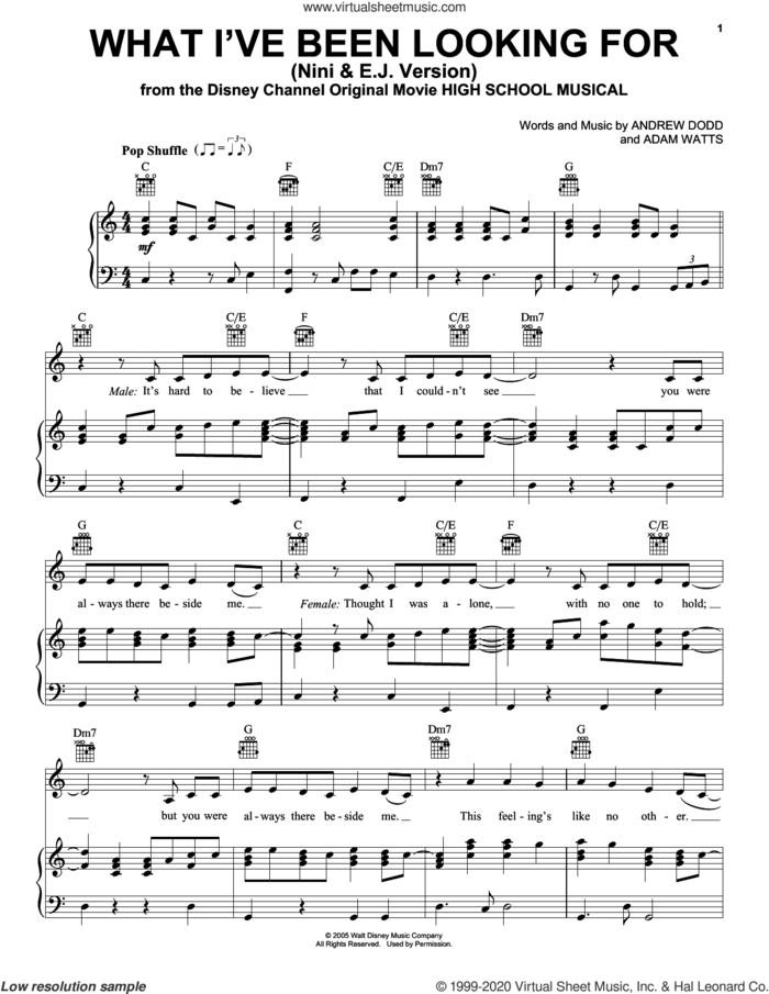 What I've Been Looking For (from High School Musical: The Musical: The Series) sheet music for voice, piano or guitar by Olivia Rodrigo & Matt Cornett, Adam Watts and Andrew Dodd, intermediate skill level