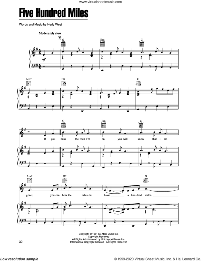 Five Hundred Miles sheet music for voice, piano or guitar by Peter, Paul & Mary and Hedy West, intermediate skill level