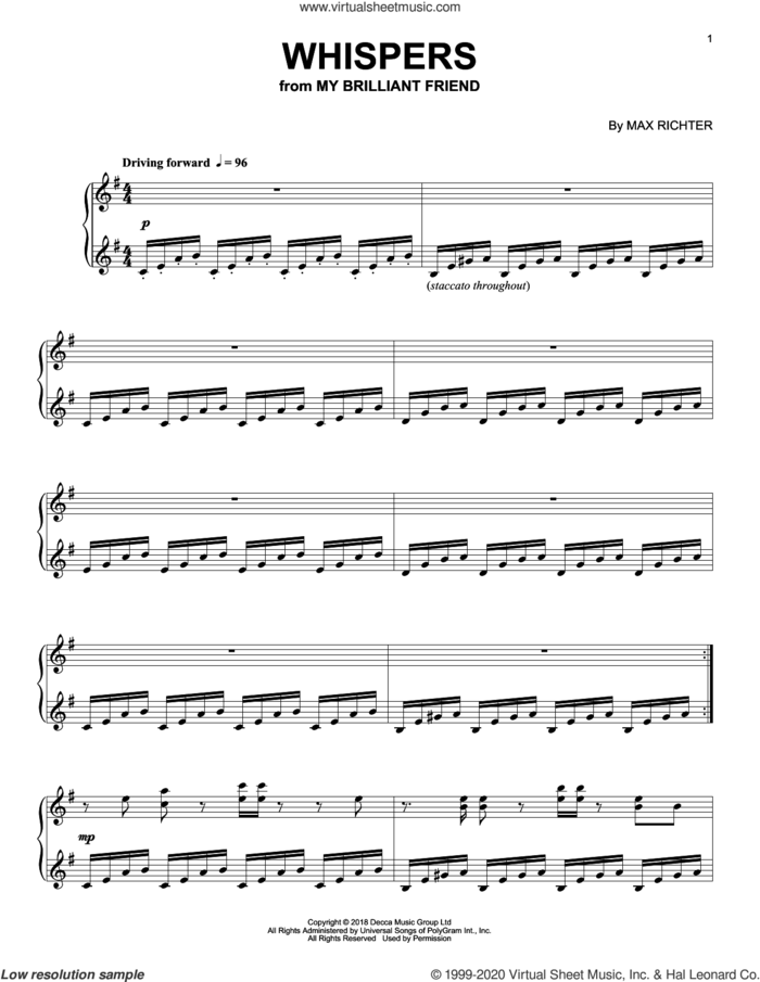 Whispers (from My Brilliant Friend) sheet music for piano solo by Max Richter, intermediate skill level