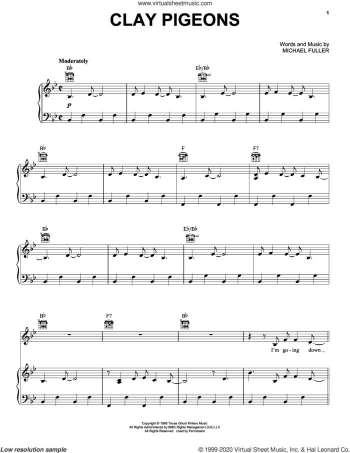 Clay Pigeons sheet music for voice, piano or guitar by John Prine and Michael Fuller, intermediate skill level