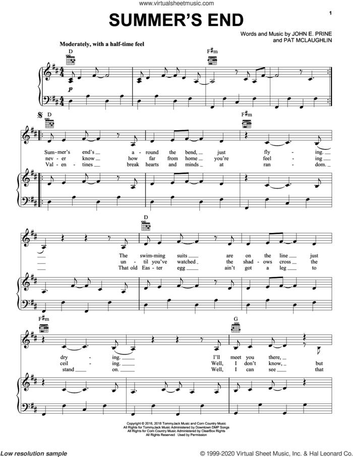 Summer's End sheet music for voice, piano or guitar by John Prine, John E. Prine and Pat McLaughlin, intermediate skill level