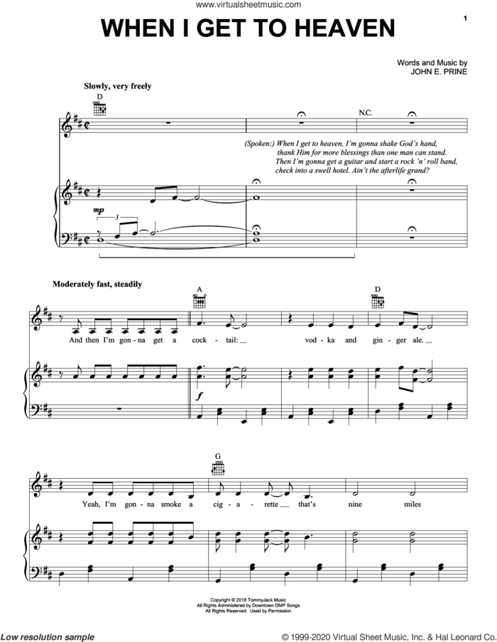 When I Get To Heaven sheet music for voice, piano or guitar by John Prine and John E. Prine, intermediate skill level