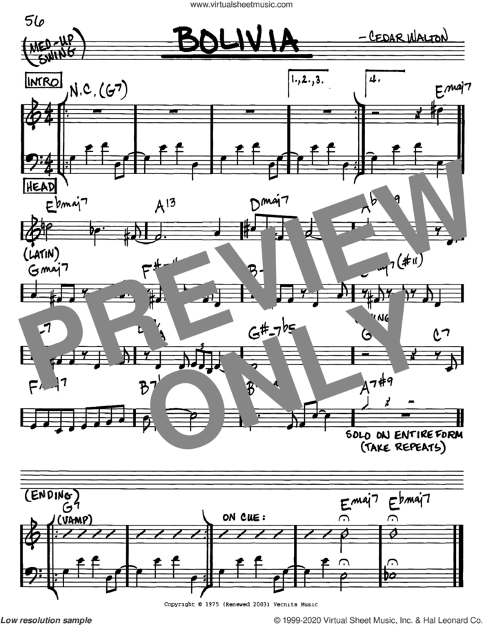 Bolivia sheet music for voice and other instruments (in C) by Cedar Walton, intermediate skill level