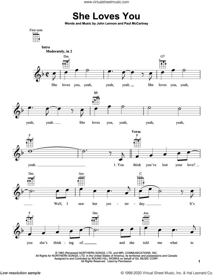 She Loves You sheet music for ukulele by The Beatles, John Lennon and Paul McCartney, intermediate skill level