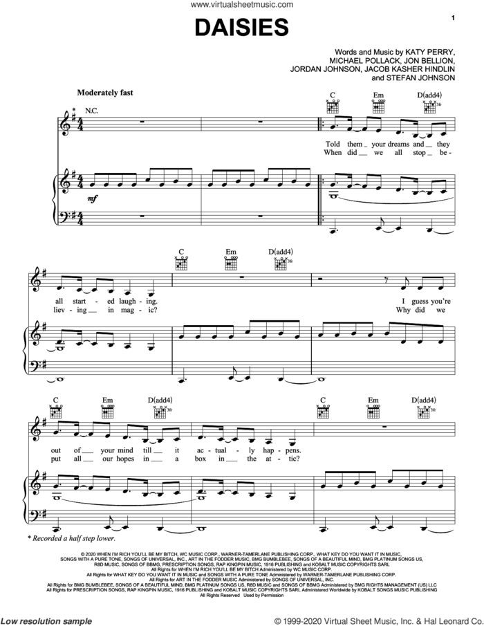 Daisies sheet music for voice, piano or guitar by Katy Perry, Jacob Kasher Hindlin, Jon Bellion, Jordan Johnson, Michael Pollack and Stefan Johnson, intermediate skill level