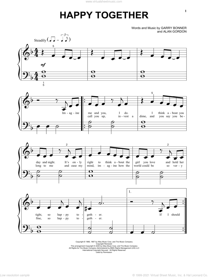 Happy Together sheet music for piano solo (big note book) by The Turtles, Alan Gordon and Garry Bonner, easy piano (big note book)